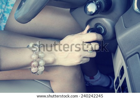 Key of starting the car - stock photo