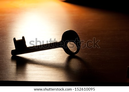 Key on a wooden background. - stock photo