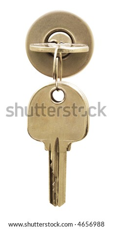 Key on lock isolated on white. Space on the other key for your text - stock photo