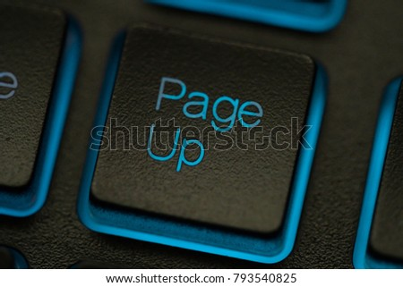 Key page up macro. Computer Keyboard pc or laptop with backlight.