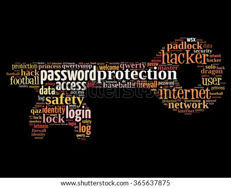 Key password, word cloud concept on black background.