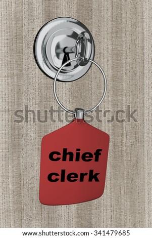 Key pendant is in the door lock - stock photo