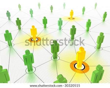 Key people in a networked crowd. - stock photo