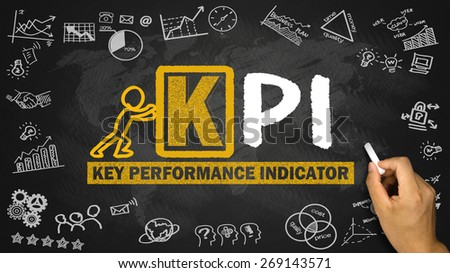 key performance indicator concept hand drawing on blackboard - stock photo