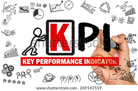 key performance indicator concept hand drawing on whiteboard - stock photo