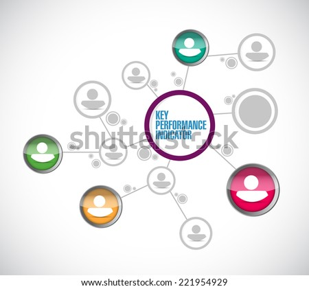 key performance indicator network illustration design over a white background - stock photo