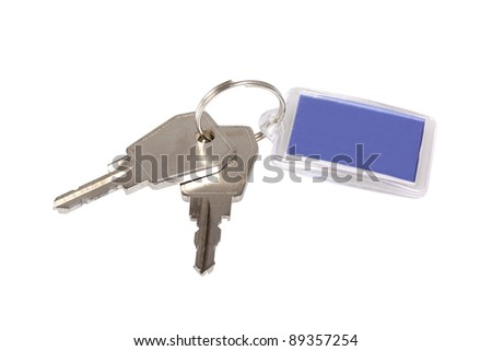 Key ring with two keys isolated over white background - stock photo