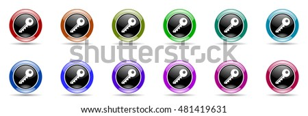 key round glossy colorful web icon set