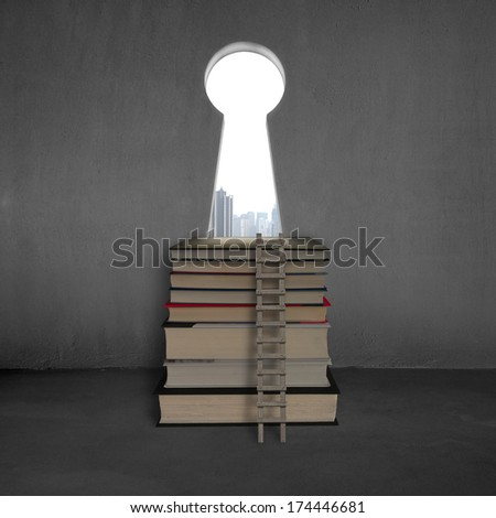 Key shape door with stack books, wooden ladder and city view outside - stock photo