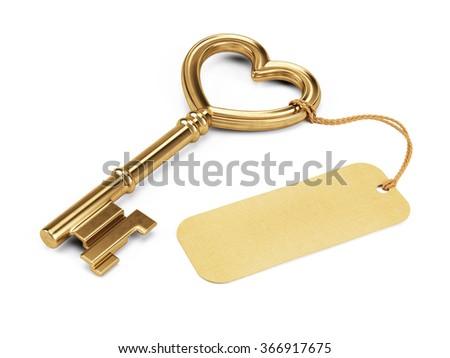 Key shaped heart with blank tag isolated on white - stock photo