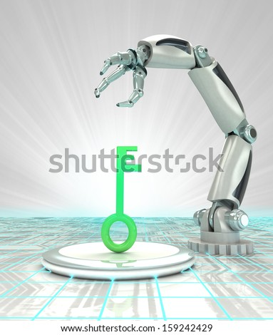 key to cybernetic robotic hand automatic technologies render illustration - stock photo