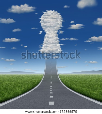 Key to growing success concept with a road or highway going forward fading into the sky with a group of clouds shaped as a keyhole icon as a business symbol for solutions and aspirations. - stock photo