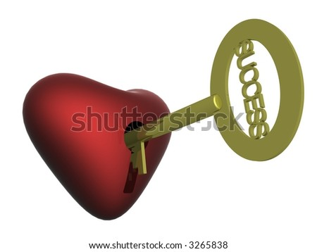 Key to success. 3D image. The isolated object - stock photo