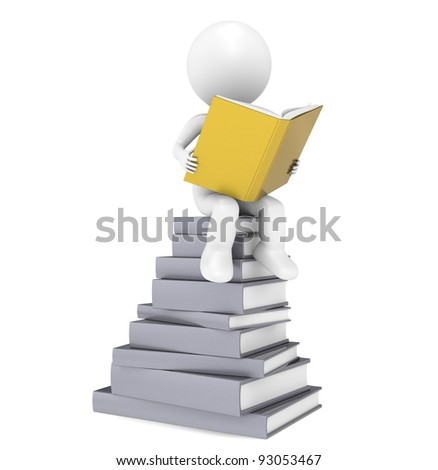 Key to Success. 3D little human character with the Golden Books. People Series. - stock photo