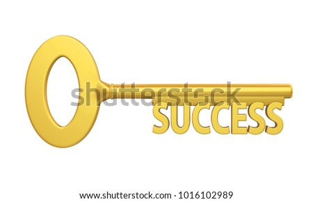 Key to Success Isolated. 3D rendering