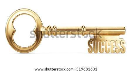Key to Success isolated on white. 3d illustration