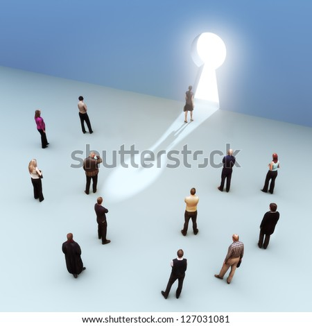 Key to success, Large group of people with one moving to the light, leading the pack, standing out from the crowd concept - stock photo