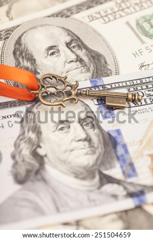 Key to success on dollar banknotes - stock photo