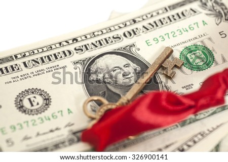 Key to success on  dollar banknotes isolated - stock photo