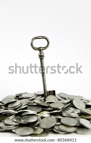 Key to success on hip of coins, isolated on white - stock photo