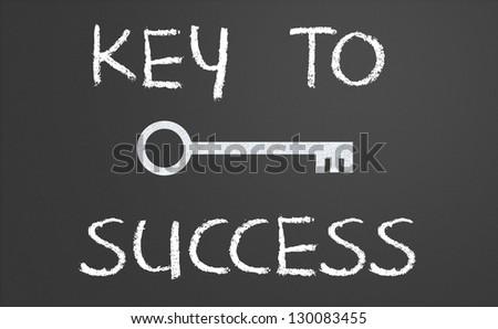 Key to success written on a chalkboard - stock photo