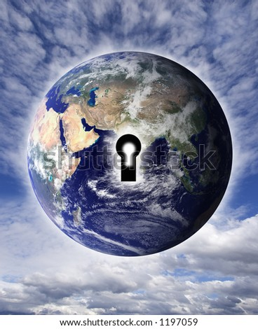 Key to the world - stock photo