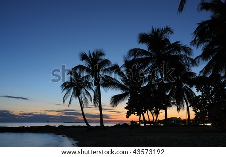Key West Beach after Sunset, Florida Keys USA - stock photo