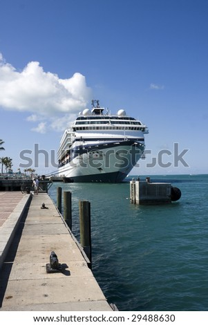 KEY WEST, FL - MARCH 22 : Celebrity Cruise Line ships dock at the harbor March 22, 2009 in Key West, Florida. - stock photo