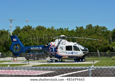 KEY WEST, FL.-SEPTEMBER 19: A Life Net Medical Life Flight Evacuation Helicopter sits on the helipad at Lower Keys Medical Center in Key West, Florida, on September 19, 2016.