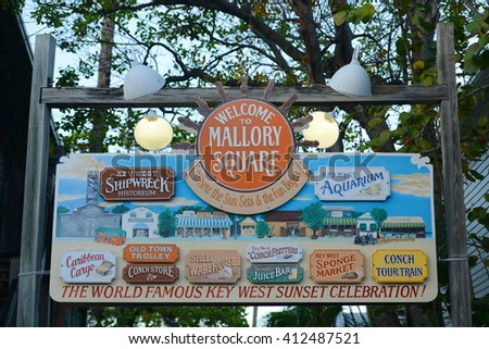 KEY WEST, FL, USA - DEC 20: Colorful signs at the entrance of Mallory Square on Dec 20, 2012 in Kew West, Florida, USA. - stock photo