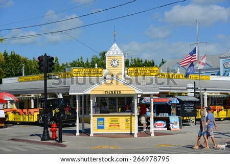 KEY WEST, FL, USA - DEC 20: Conch Tour Train is the most famous tour bus on December 20th, 2015 in Key West, Florida, USA. - stock photo