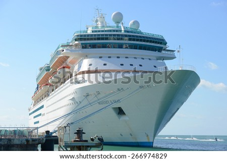 KEY WEST, FL, USA - DEC 20: Holland American Line Cruise ship Zuiderdam anchore offshore on December 20th, 2015 in Key West, Florida, USA. - stock photo
