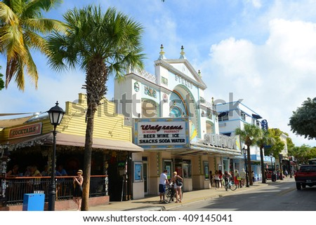 KEY WEST, FL, USA - JAN 1: Historic Strand Theater on Duval Street on Jan 1st, 2015 in Key West, Florida, USA. Now it's used as a Walgreens Pharmacy. - stock photo