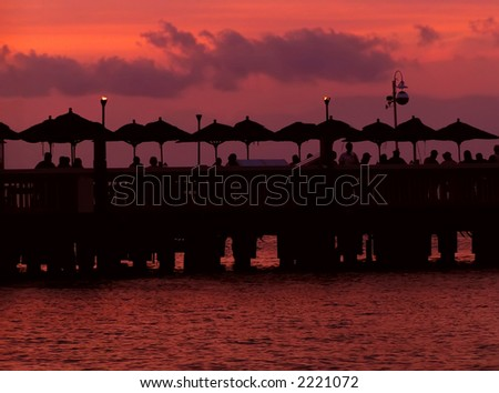 Key West Florida Happy Hour Sunset - stock photo