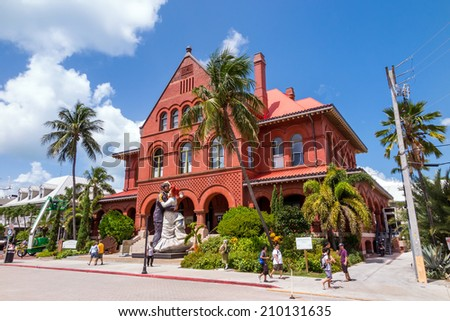 KEY WEST, FLORIDA USA - August 10: Key West Museum of Art & History at the Custom House on August 10, 2014. The building was designed by architect William Kerr, and was completed in 1891.