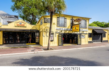 KEY WEST, FLORIDA USA - JUNE 26, 2014: The historic Captain Tony's Saloon, the original site of Sloppy Joe's, in downtown Key West. - stock photo
