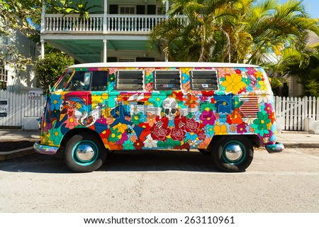 Key West, Florida USA - March 3, 2015: A classic Volkswagen Van parked in the historic district of Key West. - stock photo