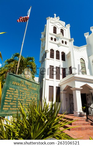 Key West, Florida USA - March 3, 2015: The beautifully restored Saint Paul Episcopal Church located on Duval Street.