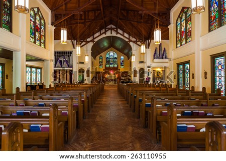 Key West, Florida USA - March 3, 2015: The beautifully restored Saint Paul Episcopal Church located on Duval Street. - stock photo