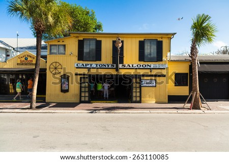 Key West, Florida USA - March 3, 2015: The historic Captain Tony's Saloon, the original site of Sloppy Joe's, in downtown Key West. - stock photo