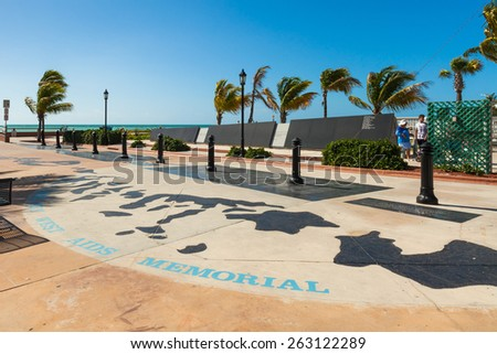 Key West, Florida USA - March 3, 2015: The Key West Aids Memorial located at the entrance of the White Street Pier. - stock photo