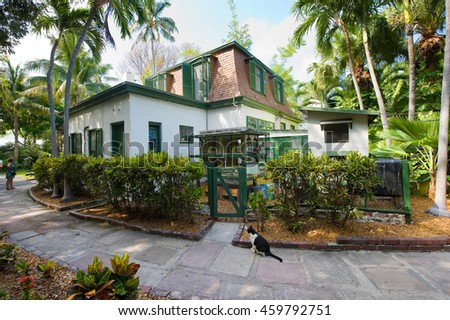 KEY WEST, FLORIDA, USA - MAY 03, 2016: Building where Ernest Hemingway worked on the compound of the Hemingway House in Key West in Florida.
