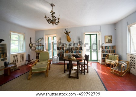 KEY WEST, FLORIDA, USA - MAY 03, 2016: Room where Ernest Hemingway worked in the Hemingway House in Key West in Florida.