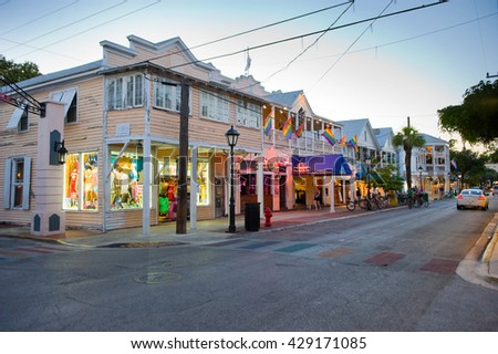KEY WEST, FLORIDA, USA - MAY 01, 2016: Shops in the twilight in Duval street in the center of Key West