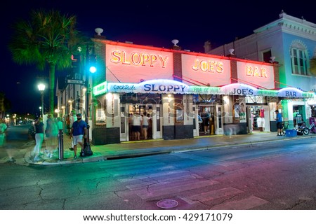 KEY WEST, FLORIDA, USA - MAY 01, 2016: Sloppy Joe's Bar in the twilight in Duval street in the center of Key West - stock photo