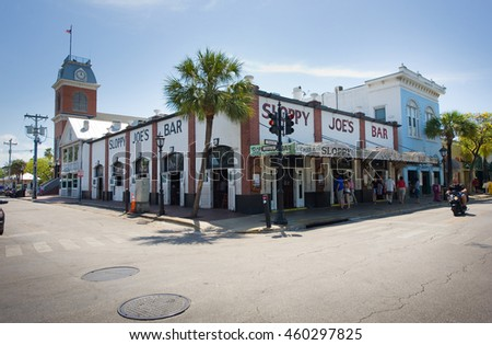 KEY WEST, FLORIDA, USA - MAY 02, 2016: Sloppy Joe's Bar in the twilight in Duval street in the center of Key West