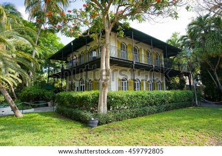 KEY WEST, FLORIDA, USA - MAY 03, 2016: The Ernest Hemingway House with garden in Key West in Florida.