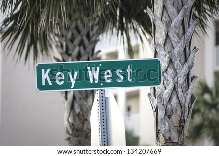 Key West street sign, South Florida - stock photo