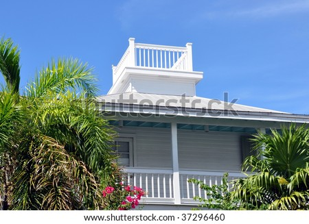 Key West Style Architecture With Widow's Walk - stock photo