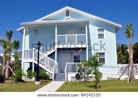 Key West Style Tropical Beach House Architecture - stock photo